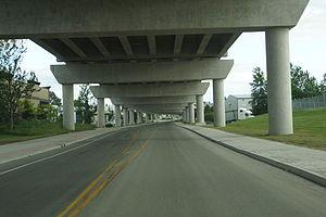 Golden Ears Bridge - Underneath view of the Golden Ears Bridge Langley - showing concrete girder components.