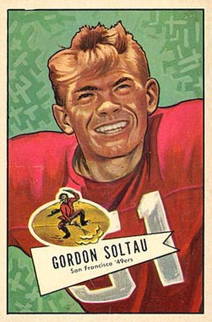Gordy Soltau - Soltau on a 1952 Bowman football card