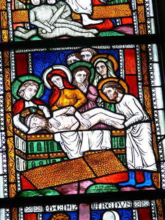 Burial of Jesus - A 13th century version of the Entombment of Christ in stained-glass