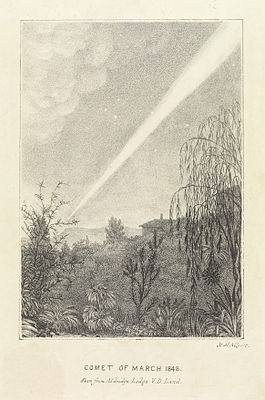 A painting of the sungrazing Great Comet of 1843, as seen from Tasmania