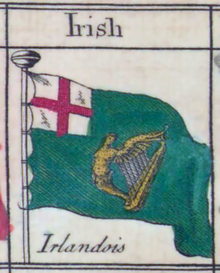 The unofficial green ensign of Ireland from Bowles's Universal Display of the Naval Flags of all Nations maritime flag chart, 1783. Green-Ensign 1783.jpg