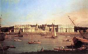 Galfridus Walpole - Greenwich Hospital by Canaletto in 1752