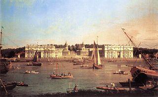 Londres : l'hôpital de Greenwich depuis la rive nord de la Tamise