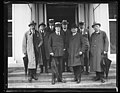 Group on steps; includes Charles Evans Hughes and Charles Curtis, front. White House, Washington, D.C. LCCN2016892387.jpg