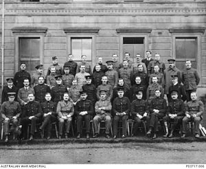 John Gellibrand - Group portrait of officers at the British Army Staff College, Camberley in 1906. Gellibrand is in the second row, second from right. Brudenell White is in the back row, third from the left.