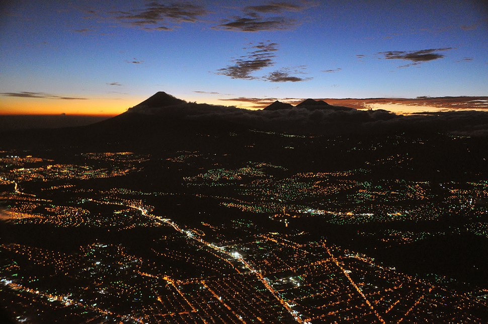 Guatemala city aerial night b