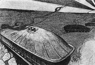 History of the tank - 1904 illustration of H.G. Wells' December 1903 The Land Ironclads, showing huge ironclad land vessels, equipped with pedrail wheels