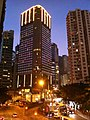 HK CWB Causeway Road night 信德街 Shelter Street concrete covered footbridge view Regal Hong Kong Hotel Nov-2013.JPG