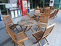 HK Kln Tong InnoCentre Garden terrace wooden furniture Tables n chairs Sept-2012.JPG