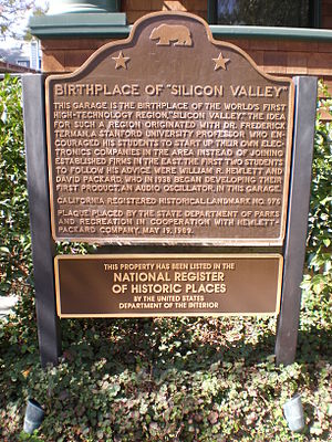 HP Garage - Image: HP garage nat'l historic landmark plaque