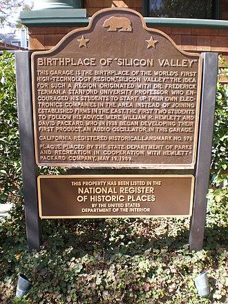 HP Garage - Image: HP garage nat'l historic landmark plaque