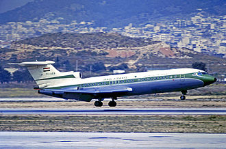 Iraqi Airways - Iraqi Airways Hawker Siddeley Trident1E landing at Athens Hellenikon Airport in 1973