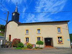 Hallering eglise et mairie.JPG