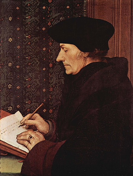 Desiderius Erasmus by Holbein; Renaissance humanist and influential critic of religious orders. Louvre, Paris. Hans Holbein d. J. - Erasmus - Louvre.jpg