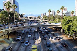 Transportation in Los Angeles - Rush hour on the Harbor Freeway in downtown Los Angeles