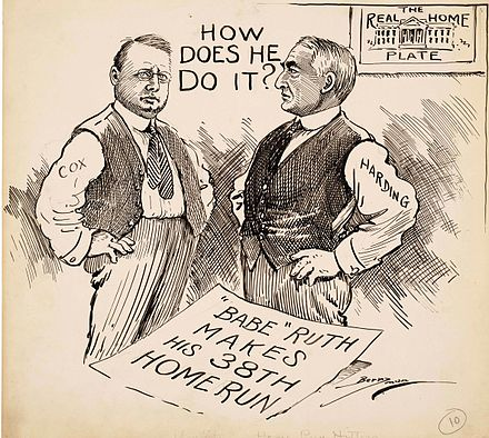 """How Does He Do It?"" In this Clifford Berryman cartoon, presidential candidates Warren G. Harding and James M. Cox wonder at Ruth's record home run pace. Harding Cox and Ruth.jpg"