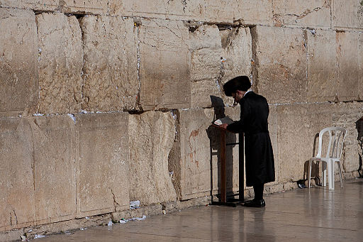 Haredi praying at the Western Wall
