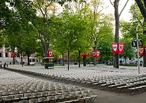 History and traditions of Harvard commencements - Seating for degree candidates in Tercentenary Theatre, with banners displaying arms of the various graduate and professional schools, and upperclass houses. Beyond the trees are the columns of Widener Library.