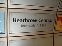 Signage on Heathrow Central railway station (Heathrow Express/Connect) London-bound platform