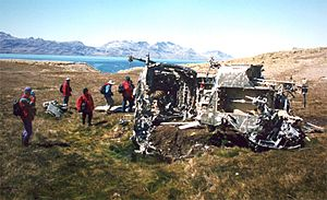 Invasion of South Georgia - Remains of the Argentine Puma helicopter, shot down during the invasion; 1999 photo.