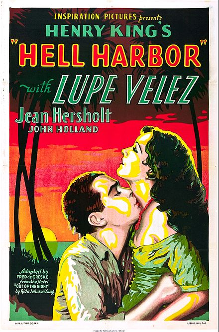 Movie poster for Hell Harbor (1930), crediting Fred de Gresac as writer of the adapted screenplay