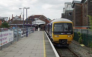 Henley-on-Thames railway station - The station platform and a Class 165 about to depart for Twyford