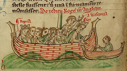 Eleanor (left) and Henry III, depicted by Matthew Paris in the 1250s Henry III and Eleanor returning by sea from Gascony, with Nicholas de Molis is in a small boat alongside.jpg