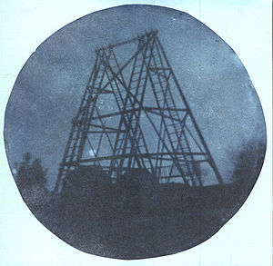 40-foot telescope - Photograph of the 40-foot telescope's frame taken in 1839 by William Herschel's son, John Herschel.