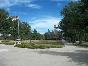 University of Northern Iowa - Memorial to 2LT Robert Hibbs and Campanile at University of Northern Iowa