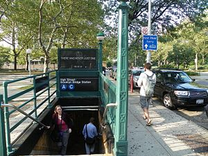 "High Street (IND Eighth Avenue Line) - Station entrance, with a sign that gives the station name as ""High Street–Brooklyn Bridge"""