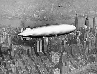 Hindenburg disaster - The Hindenburg over Manhattan, New York on May 6, 1937