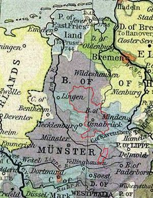 Prince-Bishopric of Osnabrück - Prince-Bishopric of Osnabrück in 1786 (red line).