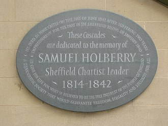 Chartism - Plaque commemorating Samuel Holberry in Sheffield's Peace Gardens