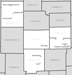 Hoosier Crossroads Conference - Locations of the members of the HCC.