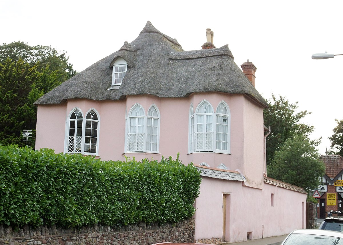 Horace Walpole cottage orne style thatched and in cob, Dawlish, South Devon.jpg