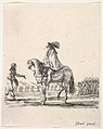 Horseman in center facing left speaking to a man on foot, infantry troops in a line in the background, from 'Various cavalry exercises' (Diverses exercices de cavalerie) MET DP833142.jpg