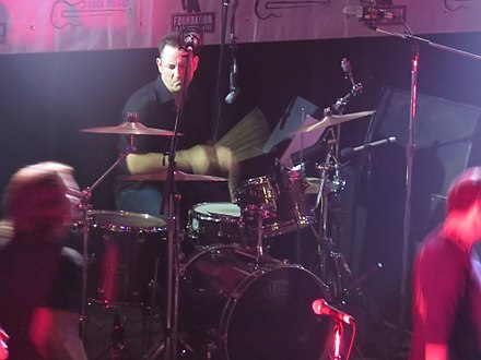 Original drummer Jimmy Chamberlin in 2014 Hot Stove Cool Music @ the Metro, Chicago 6-20-2014 (14569686565).jpg