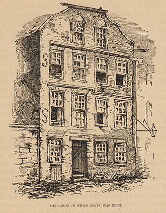 Jonathan Swift - The house in which Swift was born; 1865 illustration