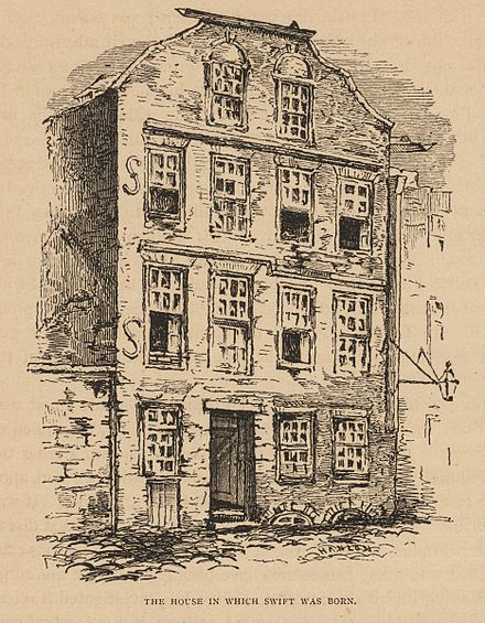 The house in which Swift was born; 1865 illustration Houghton Lowell 1816.7.3 - Life of Jonathan Swift, p 8.jpg