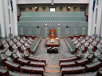 The House of Representatives Chamber of the Parliament of Australia in Canberra.