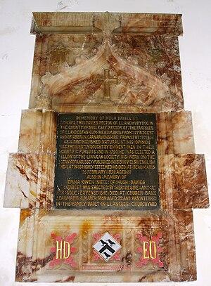 Hugh Davies (botanist) - The memorial to Davies in St Mary's Church, Beaumaris