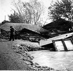 Planks of wood are scattered on the ground; a roof is visible on top of them; a man stands with his head bowed in front of the rubble.