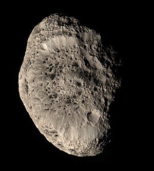 Hyperion (moon) - Hyperion in approximately natural color; acquired by Cassini spacecraft