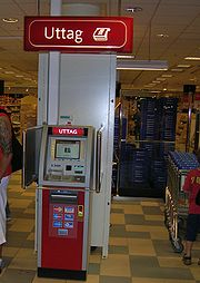 Smaller indoor ATMs dispense money inside convenience stores and other busy areas, such as this off-premise Wincor Nixdorf mono-function ATM in Sweden.