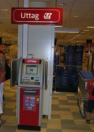 Automated teller machine - Smaller indoor ATMs dispense money inside convenience stores  and other busy areas, such as this off-premises Wincor Nixdorf mono-function ATM in Sweden.