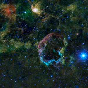Eta Geminorum - η Gem is the bright star lying just outside the supernova remnant IC 443 (WISE infrared image)