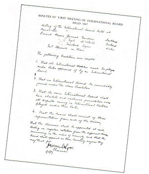 World Rugby - The minutes of the first formal meeting of the IRFB, from a meeting attended by Lyle and McAlistair of Ireland, Carrick and Gardner of Scotland, Mullock and Lyne of Wales