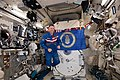 ISS-59 Nick Hague Nick Hague with the insignia of the U. S. Air Force inside the Kibo lab.jpg