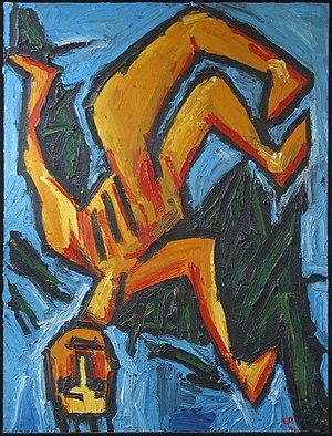 """Edward Dutkiewicz - """"Icarus"""" - oil on canvas by Edward Dutkiewicz, approx. 4ft x 6ft"""