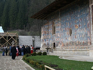 Voroneț Monastery - Visitors at the Monastery
